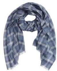 Bufanda de lana de tartán azul marino de Ermenegildo Zegna
