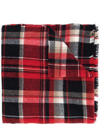 Bufanda de lana de tartán burdeos de DSQUARED2