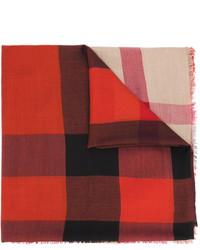 Bufanda de lana estampada roja de Burberry