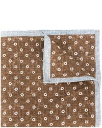 Bufanda de lino con print de flores marrón de Eleventy