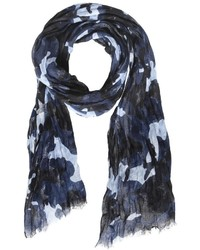 Bufanda de lino estampada azul marino de Valentino
