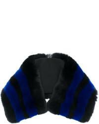Bufanda de pelo de rayas horizontales negra de Etro