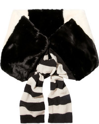 Bufanda de pelo de rayas horizontales negra de Marc Jacobs