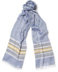 Bufanda de Rayas Horizontales Blanca y Azul Marino de Loro Piana