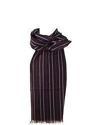 Bufanda de rayas verticales en blanco y marrón