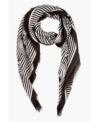 Bufanda de rayas verticales en blanco y negro de Alexander McQueen