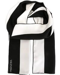 Bufanda de rayas verticales en blanco y negro de Valentino