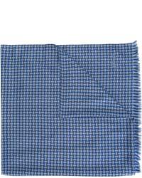 Bufanda de seda a cuadros azul de Brioni