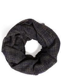 Bufanda de seda a cuadros en gris oscuro