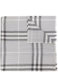 Bufanda de seda a cuadros gris de Burberry