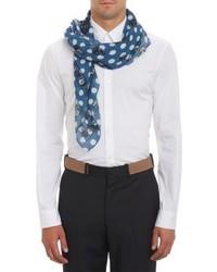 Bufanda de seda a lunares azul