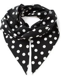 Bufanda de seda a lunares en negro y blanco de Saint Laurent