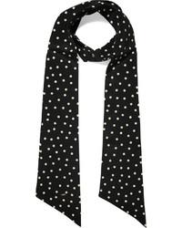 Bufanda de seda a lunares negra de Saint Laurent