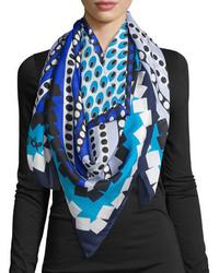 Bufanda de seda azul de Diane von Furstenberg