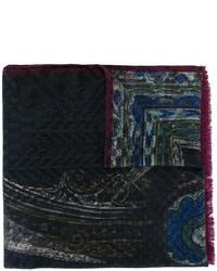 Bufanda de Seda con estampado geométrico Azul Marino de Etro