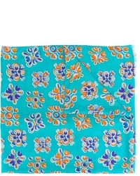 Bufanda de Seda con print de flores en Turquesa de Kiton