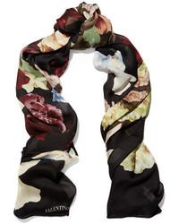 Bufanda de seda con print de flores negra de Valentino