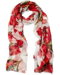 Bufanda de seda con print de flores roja de Dolce & Gabbana