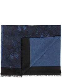 Bufanda de seda de espiguilla azul marino de Valentino