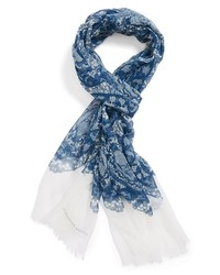 Bufanda de Seda de Flores Azul de Alexander McQueen