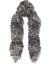 Bufanda de seda de leopardo negra de Saint Laurent