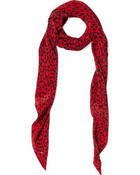 Bufanda de seda de leopardo roja de Saint Laurent