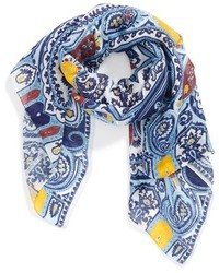 Bufanda de Seda de Paisley Azul Marino de Etro