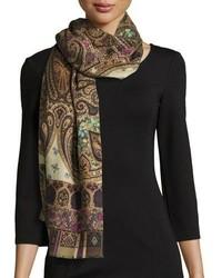 Bufanda de seda de paisley marrón de Etro