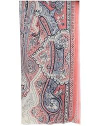 Bufanda de Seda de Paisley Rosada de Etro