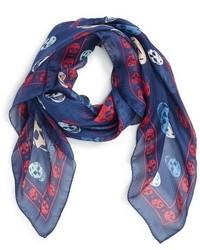 Bufanda de seda estampada azul marino de Alexander McQueen