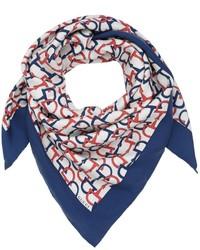 Bufanda de seda estampada azul marino de Gucci