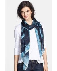 Bufanda de seda estampada azul marino de Jimmy Choo