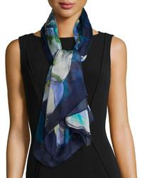 Bufanda de seda estampada azul marino de Salvatore Ferragamo