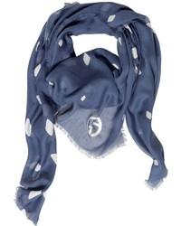 Bufanda de Seda Estampada Azul de Giorgio Armani