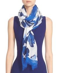 Bufanda de Seda Estampada Azul de Oscar de la Renta