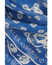 Bufanda de Seda Estampada Azul de Alexander McQueen