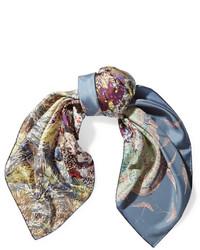 Bufanda de seda estampada azul de Valentino