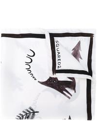 Bufanda de seda estampada blanca de DSQUARED2