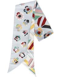 Bufanda de seda estampada celeste de Fendi