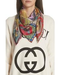 Bufanda de seda estampada en multicolor