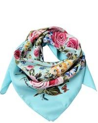 Bufanda de seda estampada en turquesa de Dolce & Gabbana