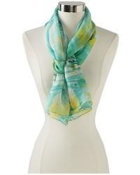 Bufanda de seda estampada en verde menta