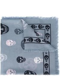 Bufanda de seda estampada gris de Alexander McQueen