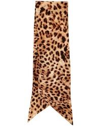Bufanda de seda estampada marrón claro de Roberto Cavalli