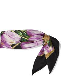 Bufanda de seda estampada morado oscuro de Dolce & Gabbana