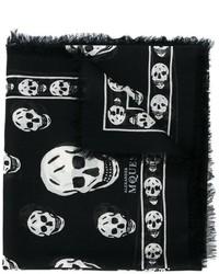 Bufanda de Seda Estampada Negra de Alexander McQueen