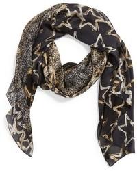 Bufanda de seda estampada negra de Jimmy Choo