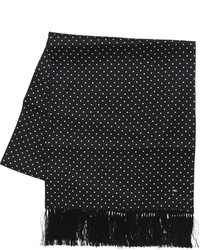 Bufanda de seda estampada negra de Saint Laurent