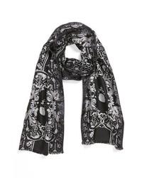Bufanda de seda estampada negra de The Kooples