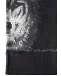Bufanda de seda estampada negra de Valentino